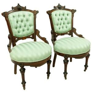 Pair Victorian East Lake Side Chairs 19th Century 1800s