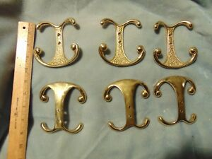 Set Of 6 Solid Brass Double Hook Ornate Hall Tree Coat Hat Hanger