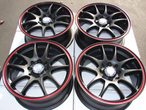 15 4x100 4x114 3 Black Red Rims Fits Tiburon Accord Integra Civic 4 Lug Wheels