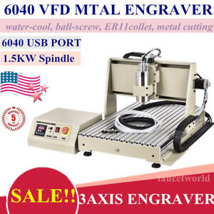 Usb 1500w 6040 Router 3 Axis Vfd Metal Engraver Wood Milling Drill Machine