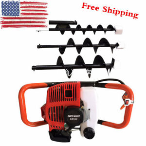 New 2 stroke Auger Post Hole Digger Gas Powered Ground Drill W 3 Bits 4 6 8