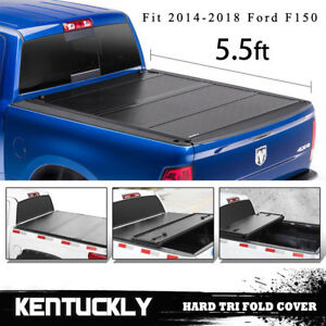 For 16 18 Ford F 150 5 5ft Truck Bed Aluminum Hard Tri fold Tonneau Bed Cover