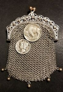 French Sterling Silver Art Nouveau 1920 Depose Little Mesh Purse Superb