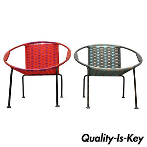 Pair Of Childs Mcm Hoop Saucer Woven Chairs In Red Blue After Salterini