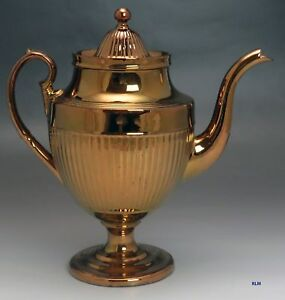 Antique 18th Century Copper Luster Porcelain Coffee Or Large Teapot
