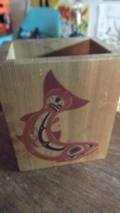 Peter Dunthorne Hand Painted Alaskan Wood Box Upper Skagit Tribe Small Box 1989