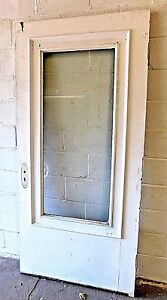 Antique 1900 Wooden Entry Door Original Glass Trim Victorian Style Fir Ornate