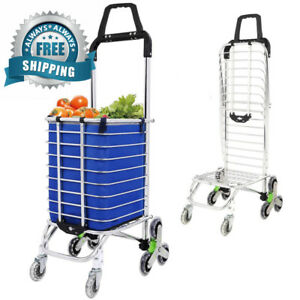 Folding Utility Shopping Cart Stair Climbing Cart Rolling Grocery With