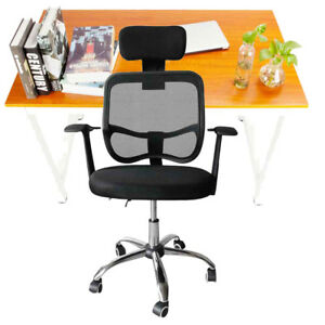 Wooden Computer Desk And Adjustable Office Swivel Chair With Headrest