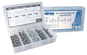 675 pc Home Woodworking Pocket Hole Joints Steel Screws Kit W Carrying Case