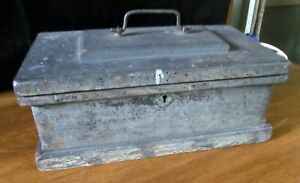 Antique Handmade Small Carpenters Wood Chest Trunk Tool Box Distressed Wooden