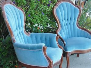 Pair 2 Antique Chairs Victorian Parlor Accent Solid Wood Pillow Blue Upholstered