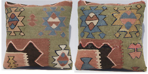 Caucasian Pillow Cover Kilim Cushion Cover Handmade Square Wool Are Rugs 16 X16