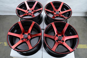 15 4x100 Red Wheels Fits Mazda2 Mini Cooper Civic Versa Miata Yaris 4 Lug Rims