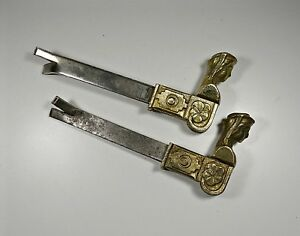 2 Vintage French Bonhommes Window Shutter Dogs Stops Hold Backs Latches Brass