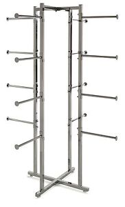 4 Way Folding Lingerie Display Rack Tower W Round 12 Long Arms Chrome