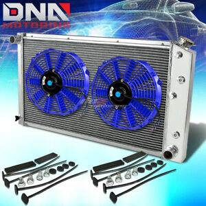 73 80 Chevy Small Block Bel Air Impala 3row Aluminum Racing Radiator X2 Blue Fan
