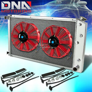 73 80 Chevy Small Block Bel Air Impala 3row Aluminum Racing Radiator X2 Red Fan