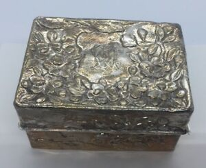 Chinese Antique Floral Sterling Silver Soap Box With Insert