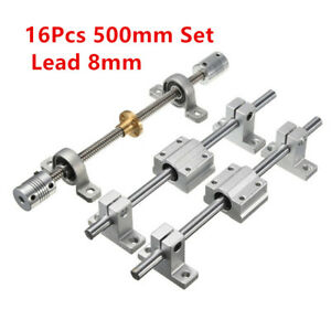 8mm Lead Rod 500mm Optical Axis Bearing Rail Support Stepper Coupler Set 16pcs