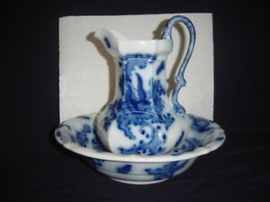 Vintage Mason S Ironstone Flow Blue Serpentine Handle Pitcher And Washbowl