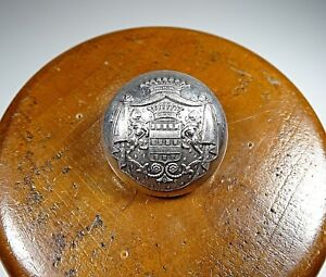 Antique Button Coat Of Arms Alfred Paris In Sterling Silver 4