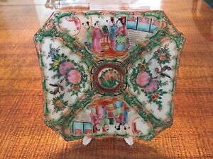 Rose Medallion Antique Hand Painted Enamel Octagon Plate 7 1 2 Circa 1860