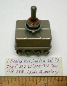 New Militarytoggle Switch Sealed 4pdt Cutlerh Ms25308 312 25 Amp Cont Lot 20 Usa