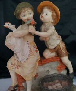 Capodimonte Figurine Boy And Girl With Hen N W Crown 10 High Hand Painted
