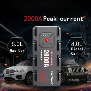 2000a Peak Car Jump Starter Pack Portable Led Flashlight Power Bank Auto Battery