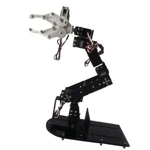 Black 6 dof Robot Arm Clamp Gripper Model Manipulator Diy Kit Servos