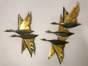 2 Vintage Mid Century Modern Brass Bird In Flight Ducks Flying Wall Hanging