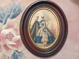 Antique Victorian Solid Wood Oval Frames Colored Prints Of Two Ladies And Girls