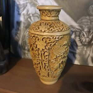 Vintage Oriental Hand Carved Stone Resin Vase Small 6 7