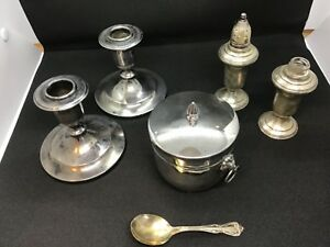 Lot 1371 Sterling Salt And Pepper Shaker Candle Stick Holders And Coaster