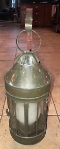 Early American Outdoor Colonial Lantern Antique Copper Light Vintage