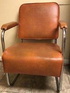 Mid Century Modern Orange Chrome Chair With Arms Retro Vintage Must Sell Asap