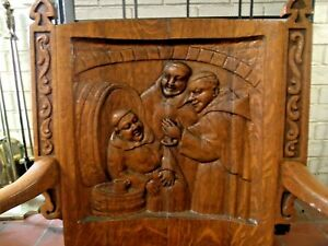 Antique Early 1900s Quarter Oak Carved Figural Gothic Arm Chair