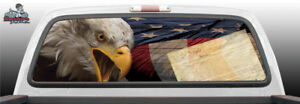 Bald Eagle American Flag Constitution Rear Window Graphic Decal Suv Truck Perf