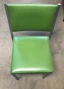 1 Chrome Green Vinyl Stackable Chair Vintage Mid Century Waiting Room Office