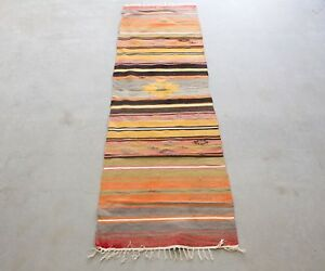Vintage Turkish Kilim Rug 7 X 2 Ft Turkish Runner Rug Modern Boho Rug
