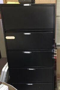 Wide 5 drawer Lateral File Cabinet Black Office Vertical Filing Commercial