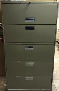 Hon 5 drawer Lateral Filing Cabiner Putty Vertical Industrial Commercial Office