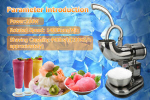 Stainless Steel Electric Ice Crusher Maker Shaver Snow Cone Grinder 200kg h