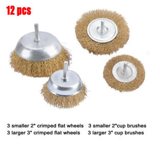 12 Pcs New Wire Wheel Brush Assortment Crimped Steel 1 4 Shank Drill Rust Scale