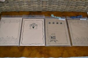 Lot Of 4 Sets Primitive Note Paper Stationery Kraft Saltbox Blessings Flowers