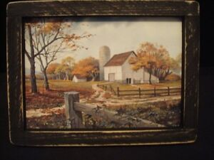 Primitive Country Print Old White Barn With Silo Black Frame 9 X 7 Free Ship