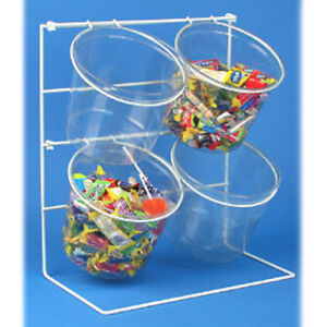 Counter Top 4 Candy Display Fixture Clear Plastic Bucket 15 H X 13 5 W X 7 5