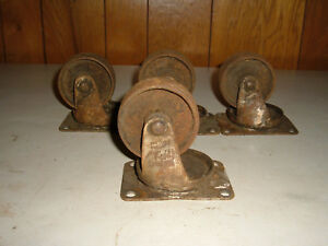 4 Antique Vintage Matching Cast Iron Factory Industrial Caster Cart Wheels