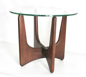Adrian Pearsall Craft Vtg Mid Century Danish Modern Walnut Wood Side End Table